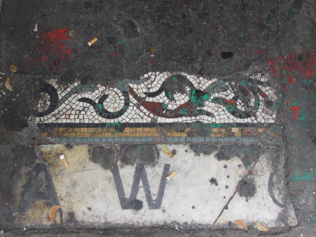 Mosaic floor at 151 Upper Street, now Fig & Olive
