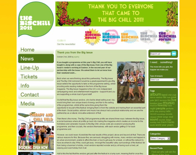 Sample page from the Big Chill website, featuring the Big Chill/Big Issue partnership