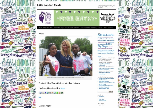 Screen grab of the Little London Fields blog site press page by Lucy Granville