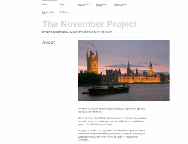 Screen grab of The November Project home page