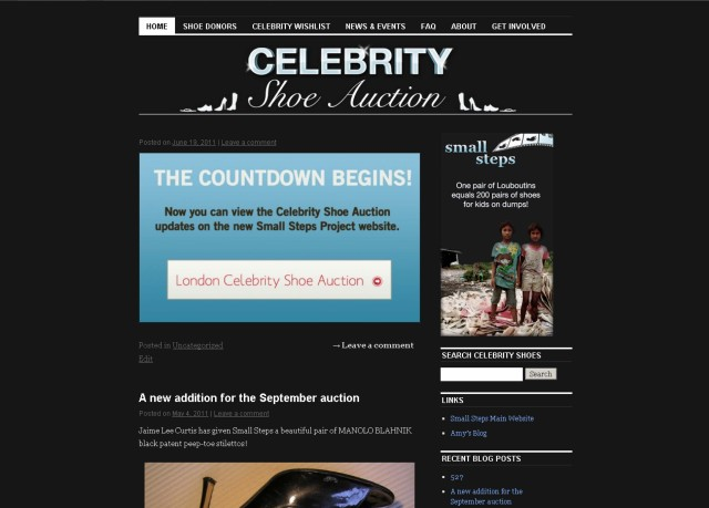 Sample page of the Small Steps Celebrity Shoe Auction blog