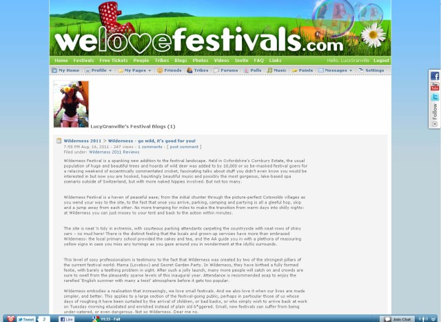 Screen grab of www.welovefestivals.com website, Wilderness review by Lucy Granville